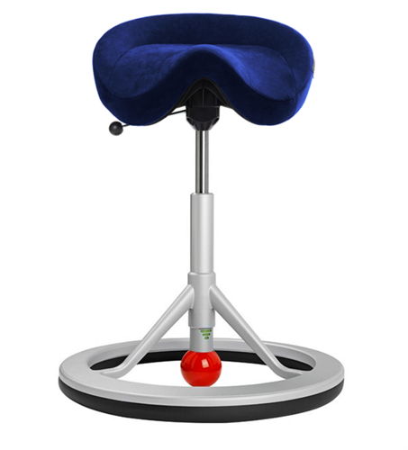 Backapp Chair, Silver Grey, Alcantara Commodore Blue, Red ball