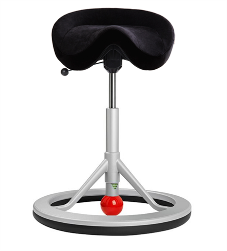 Backapp Chair, Silver Grey, Alcantara Black, Red ball
